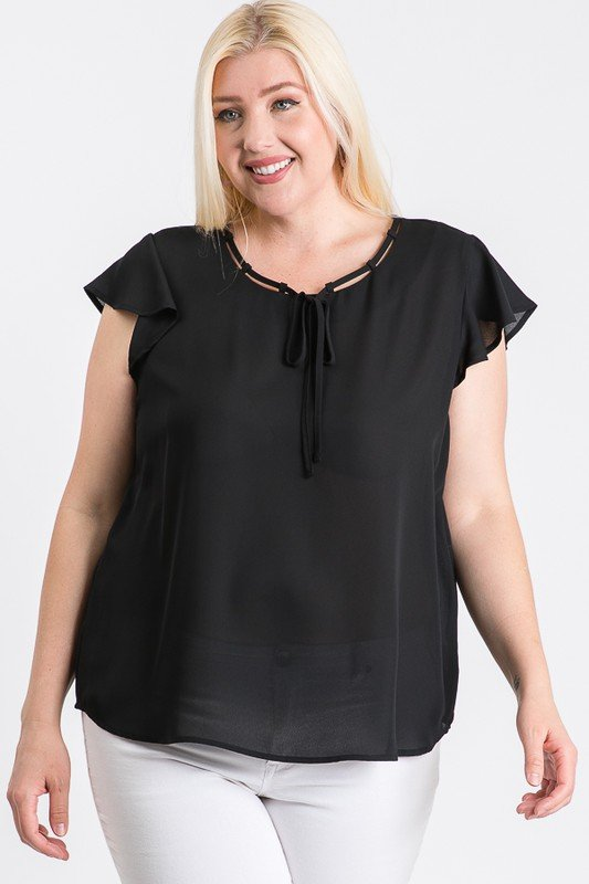 Everyday Look Short Sleeve Top -Black - Front