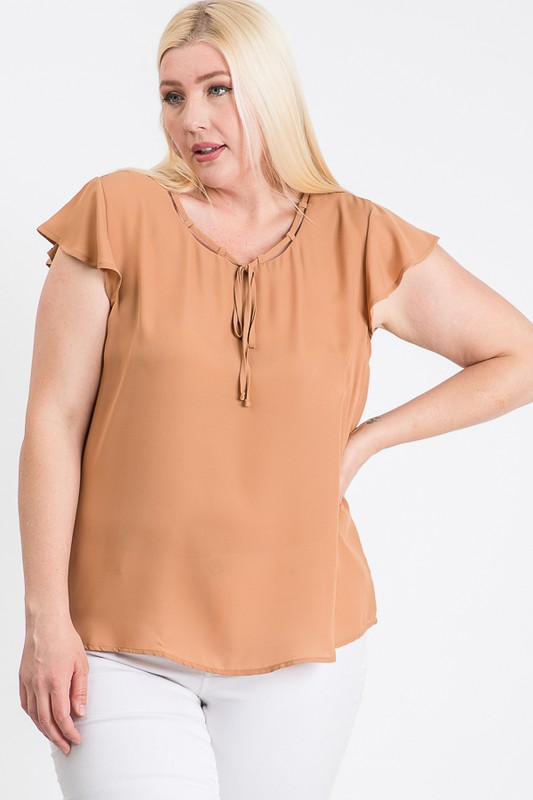 Everyday Look Short Sleeve Top -Taupe - Front
