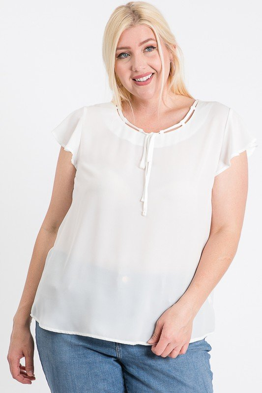 Everyday Look Short Sleeve Top -White - Front