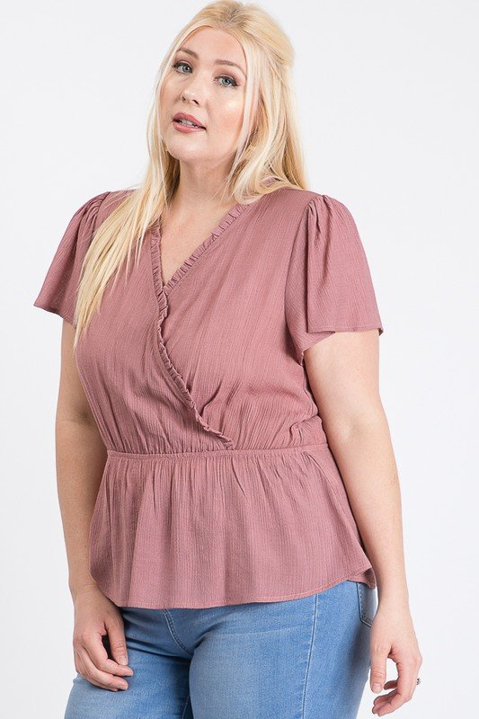 Stylish Over-Wrap Top -Mauve - Front