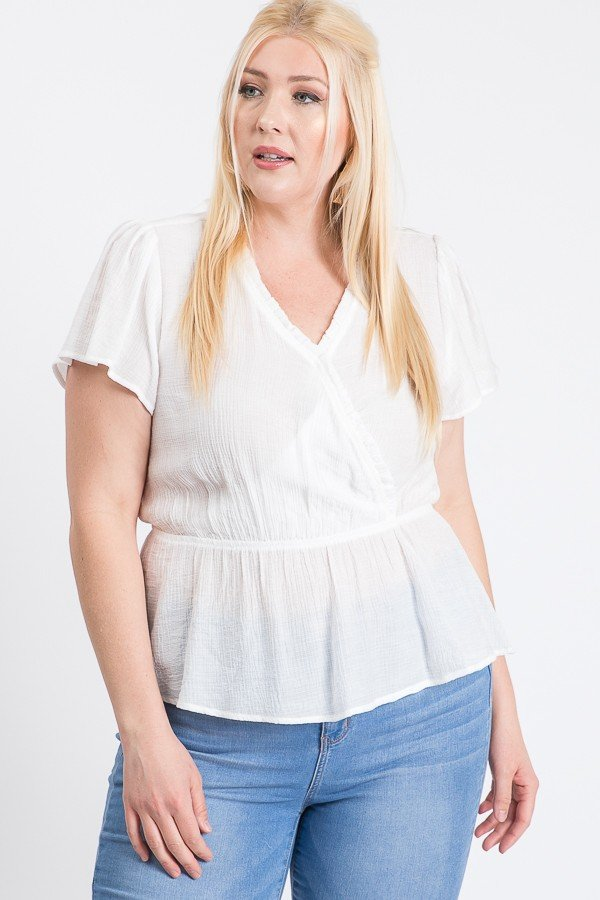 Stylish Over-Wrap Top -White - Front