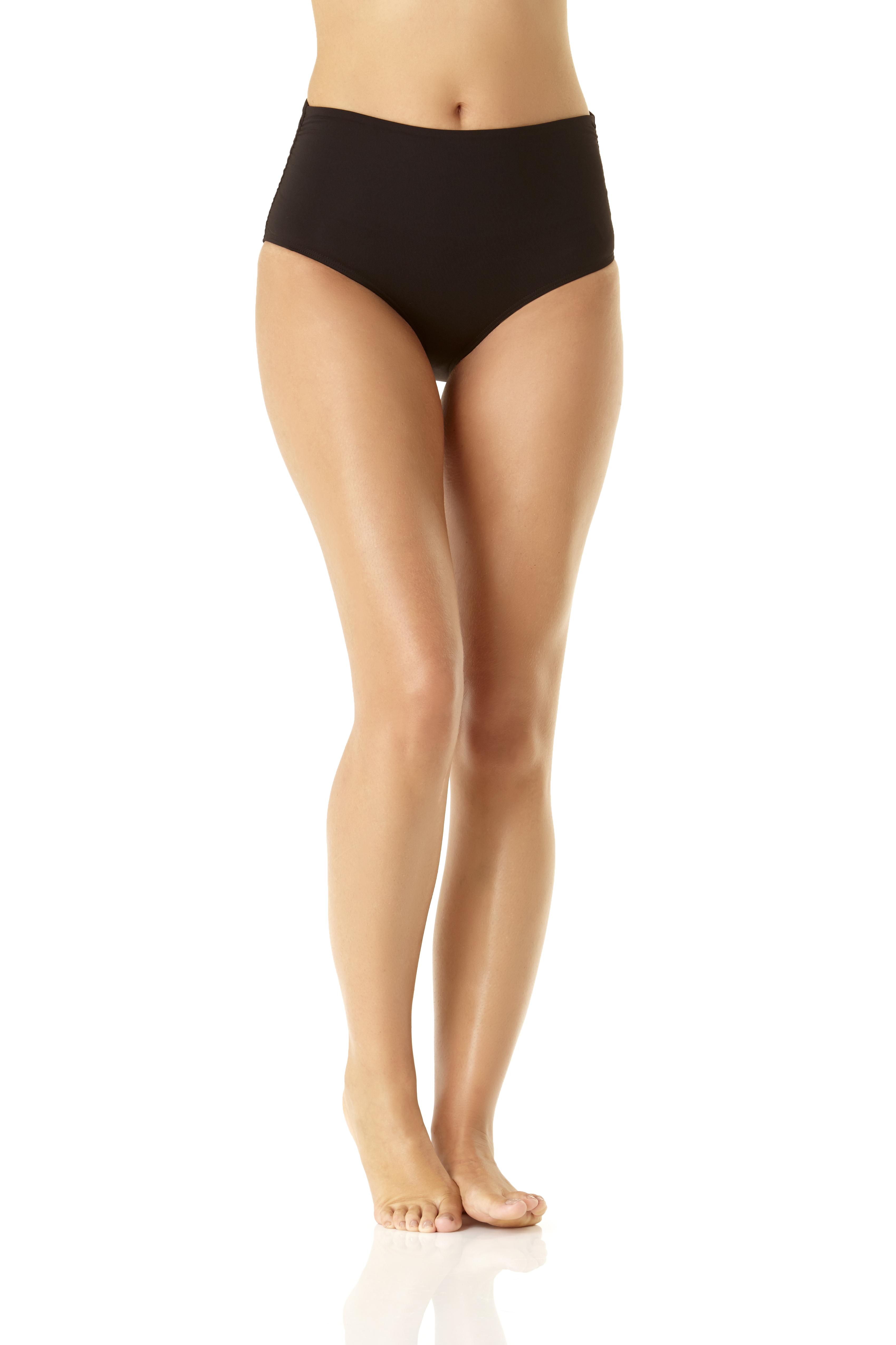 Anne Cole® Live in Color Hi Waist Shirred Bikini Swimsuit Bottom -Black - Front