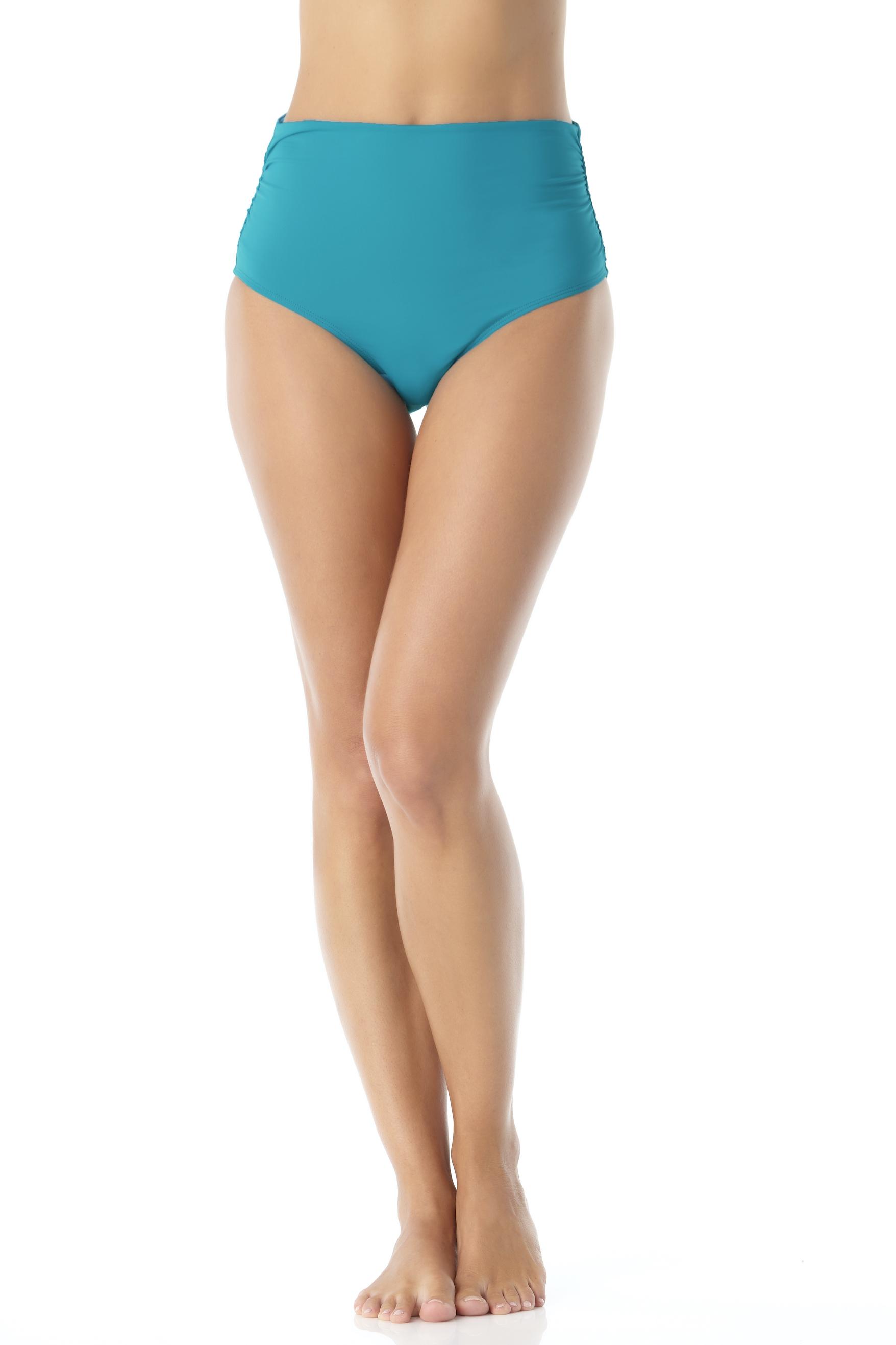 Anne Cole® Live in Color Hi Waist Shirred Bikini Swimsuit Bottom -Caribbean Blue - Front