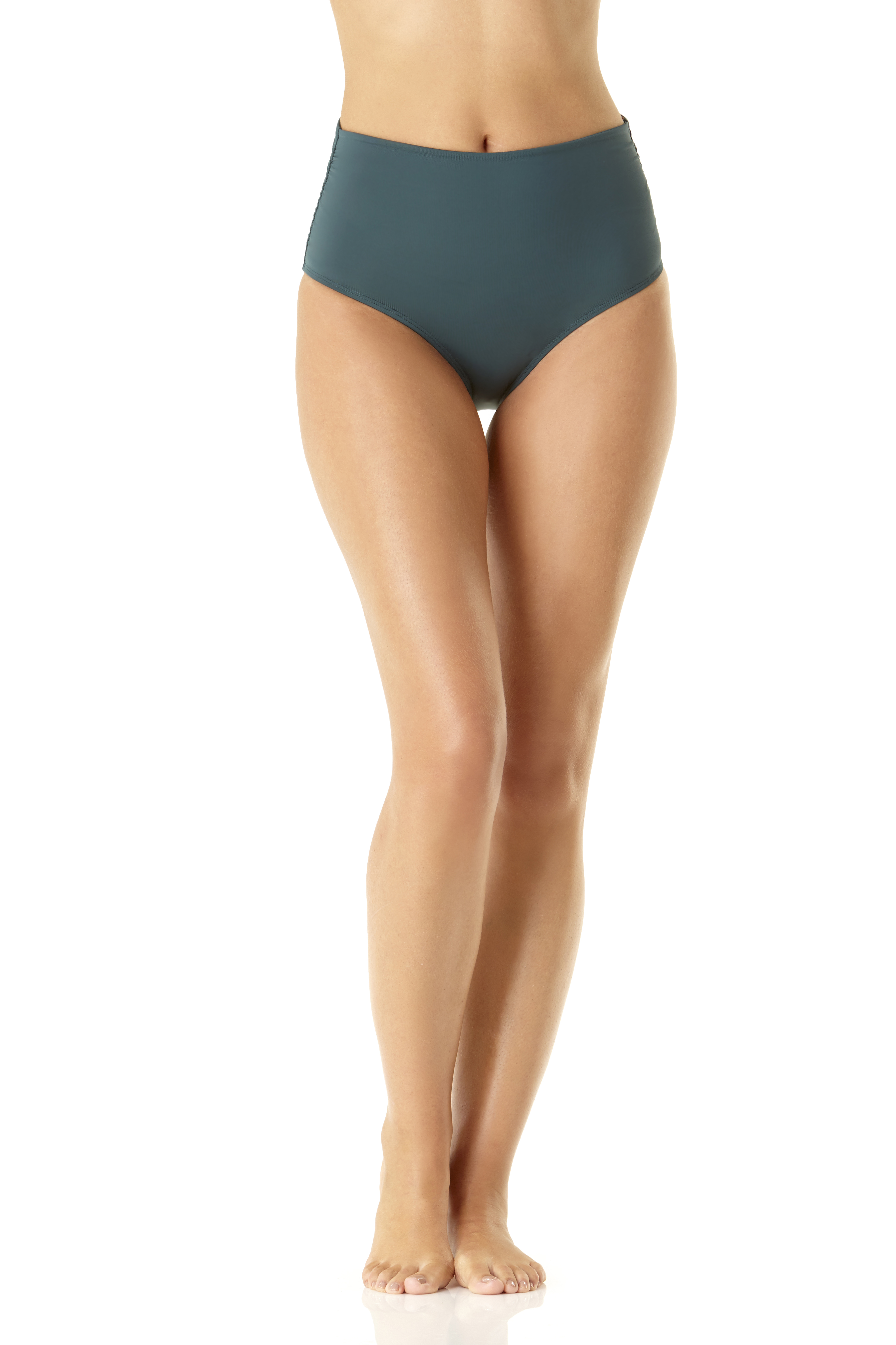 Anne Cole® Live in Color Hi Waist Shirred Bikini Swimsuit Bottom -Eucalyptus Green - Front
