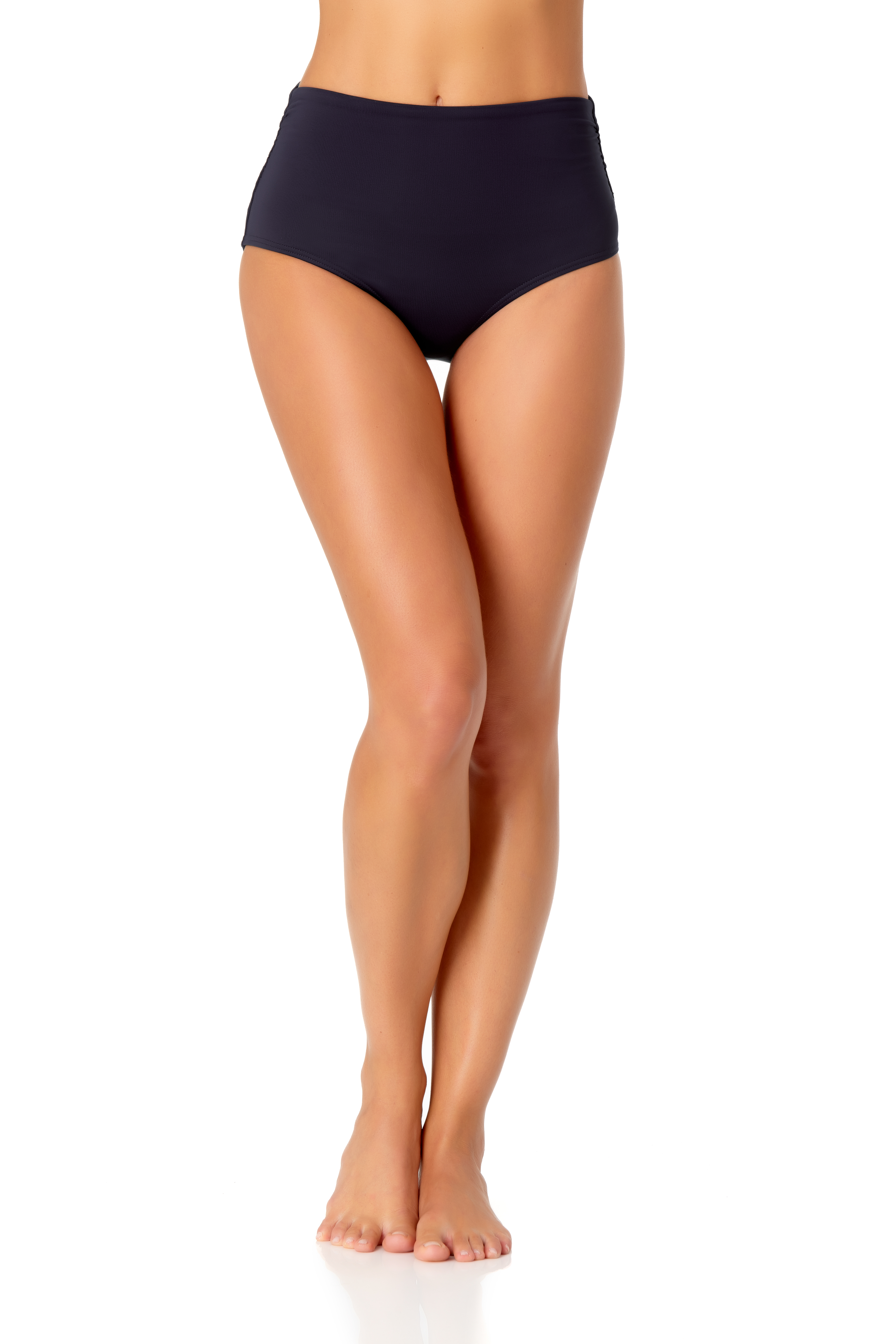 Anne Cole® Live in Color Hi Waist Shirred Bikini Swimsuit Bottom -Navy - Front