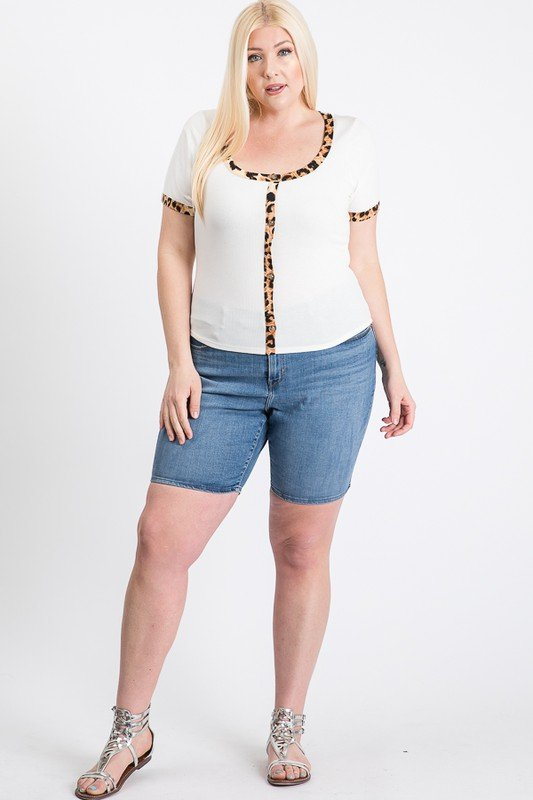Tiger Print Tee -White - Front