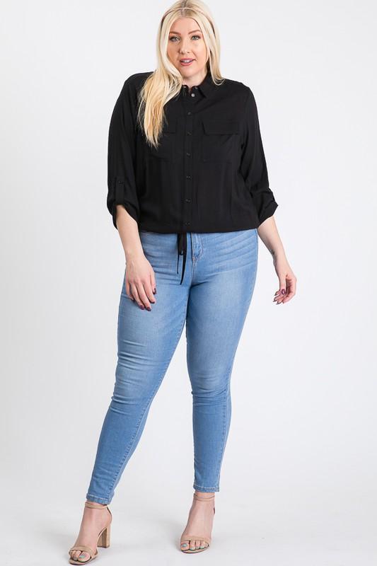 The Practical Pocket Shirt -Black - Front
