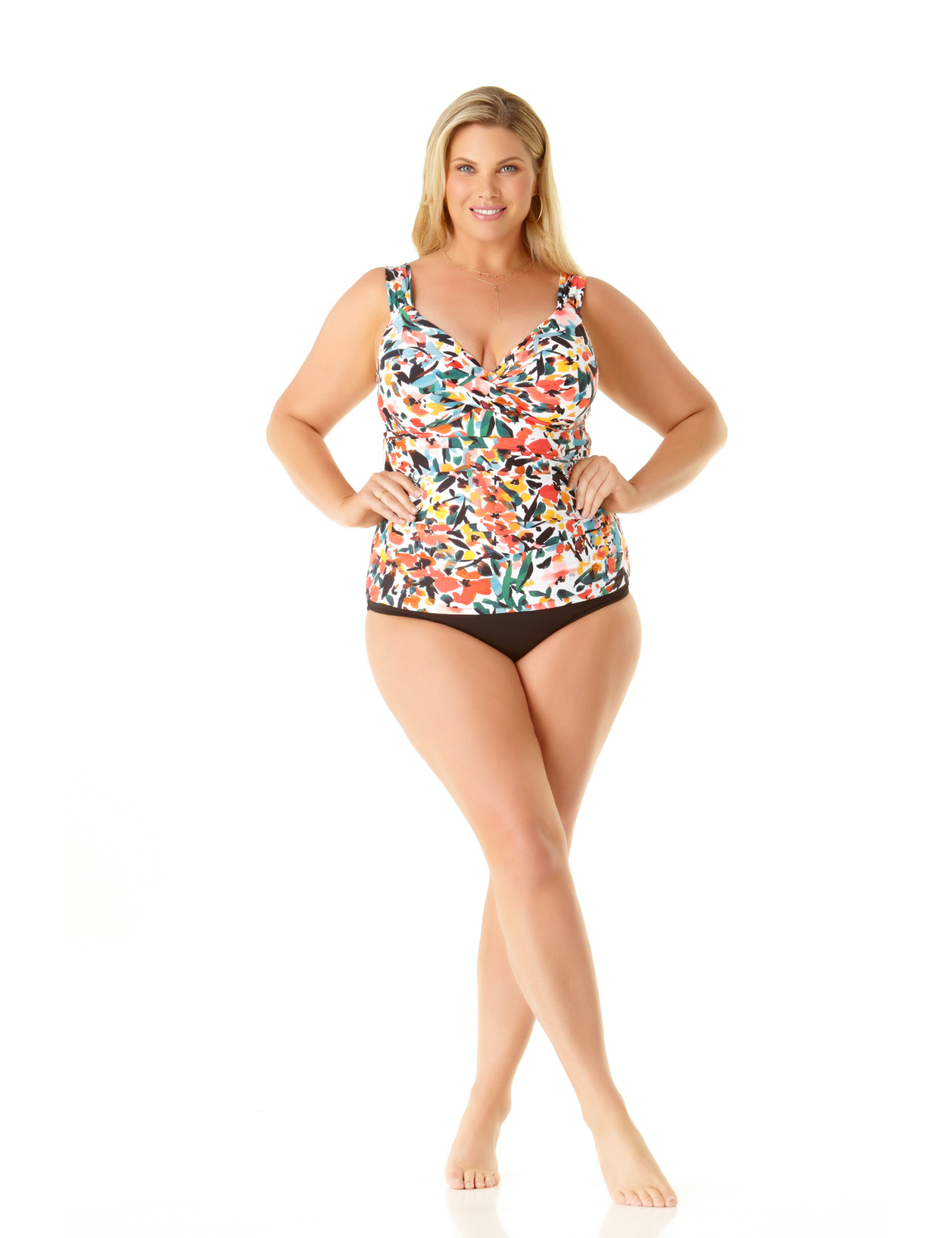 Pre-Order Anne Cole® Sunset Floral Twist Front Tankini Swimsuit Top -Multi - Front