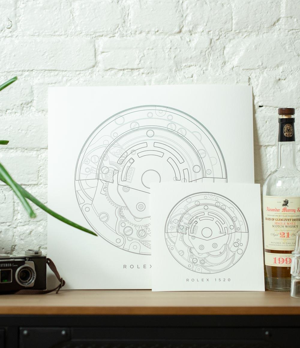 Rolex 1520 Letterpress Print