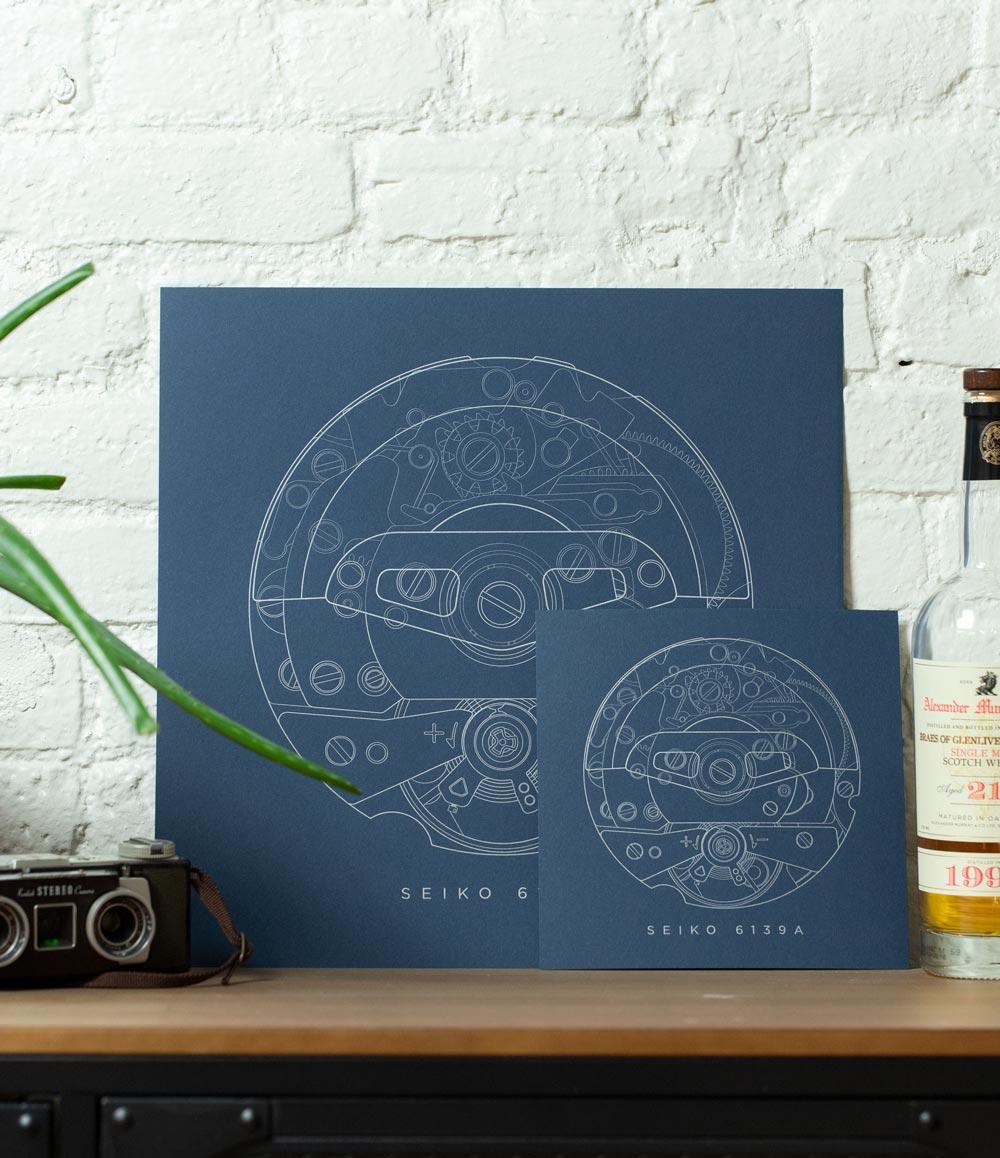 Seiko 6139A Letterpress Print
