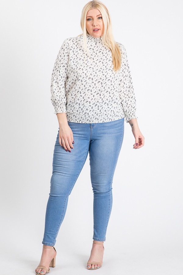 High-Neck Smocked-Waist Top -White - Front