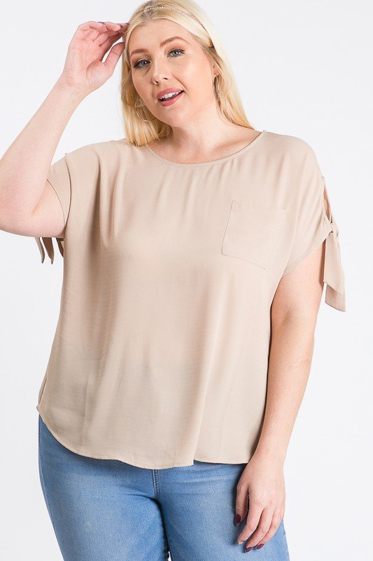 Ribbon Sleeve Top -Taupe - Front