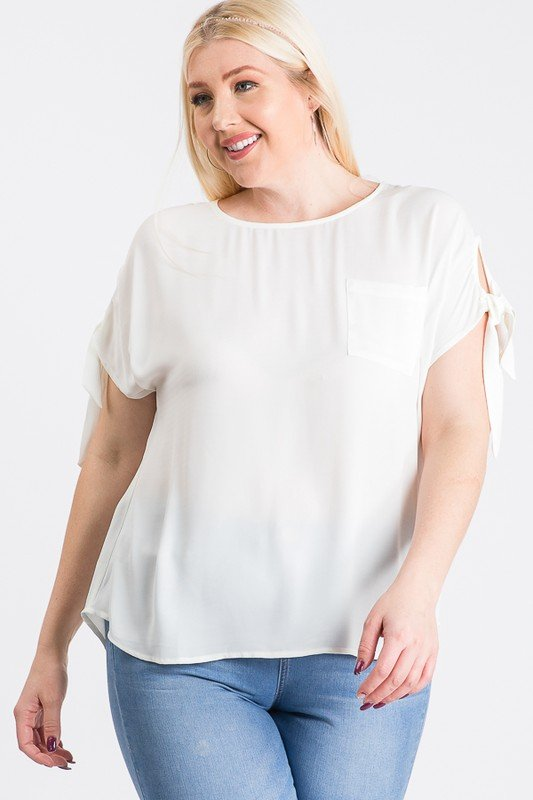 Ribbon Sleeve Top -White - Front