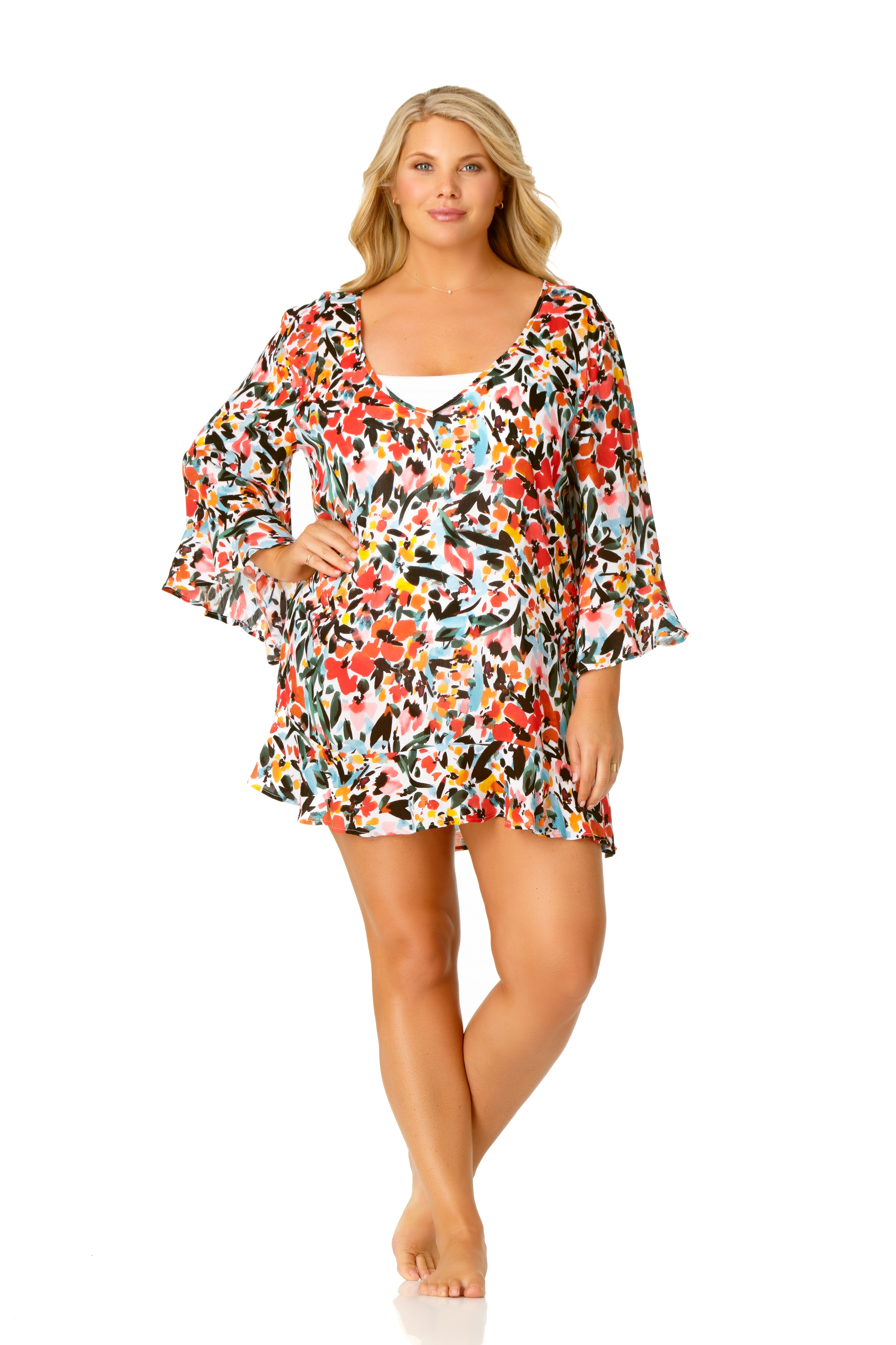 Pre-Order Anne Cole® Sunset Floral Flounce Sleeve Swimsuit Cover-Up -Multi - Front