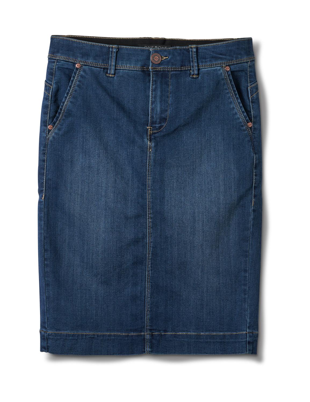 Goddess Skirt, Zip Fly , Front Pockets And Back Slash Pockets -Dark Stone Wash - Front