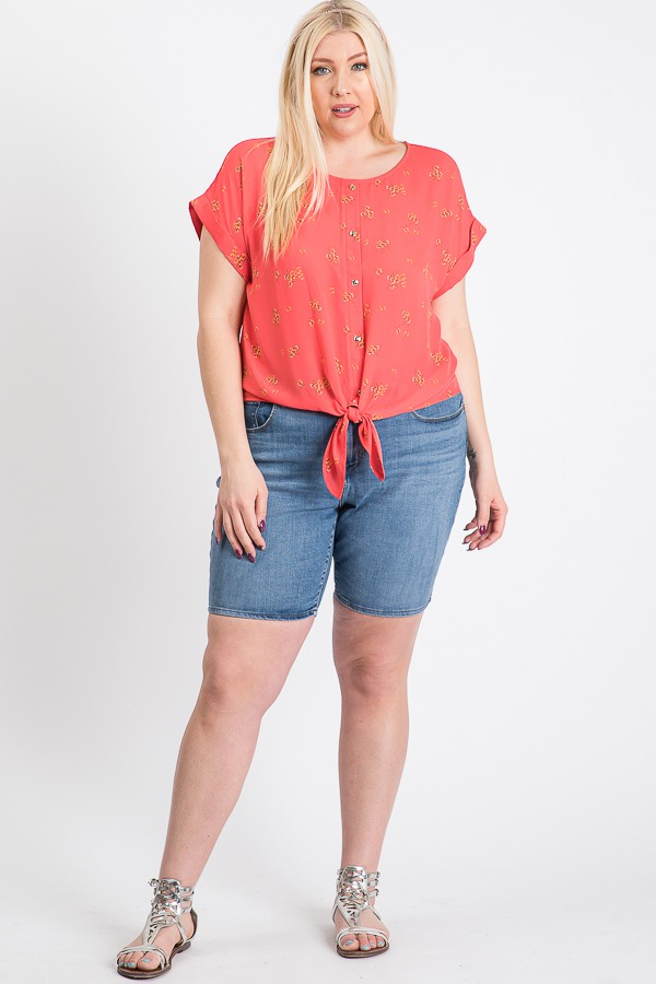Off You Go Button-Down Tee -Coral - Front