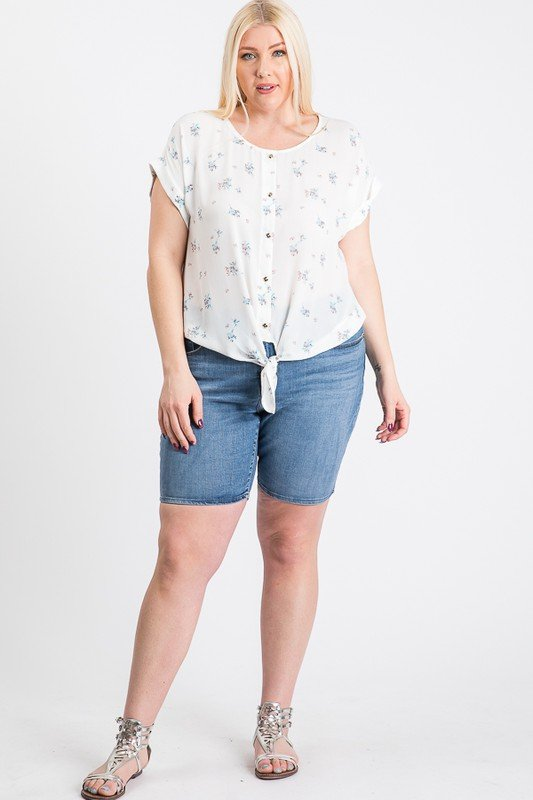 Off You Go Button-Down Tee -White - Front