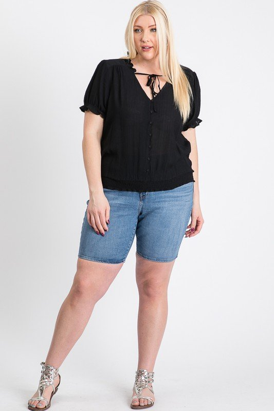 Frill Neck Smocking Top -Black - Front