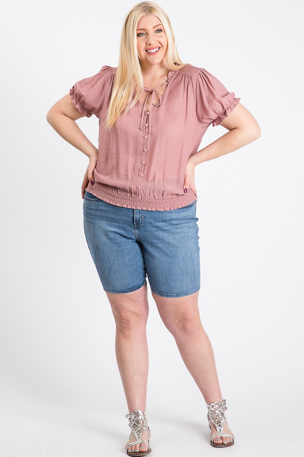 Frill Neck Smocking Top -Mauve - Front