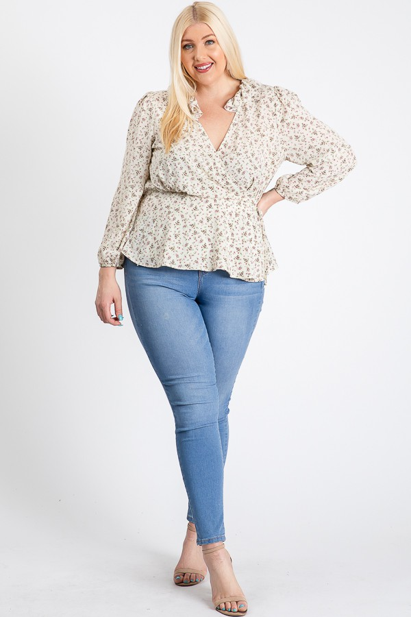 Business Or Pleasure Floral Wrap Top -Ivory - Front