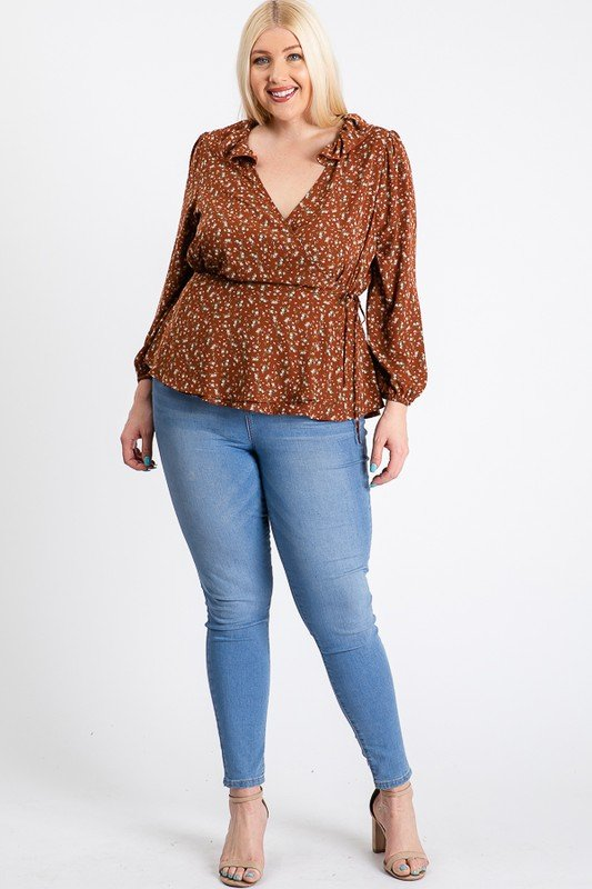 Business Or Pleasure Floral Wrap Top -Rust - Front