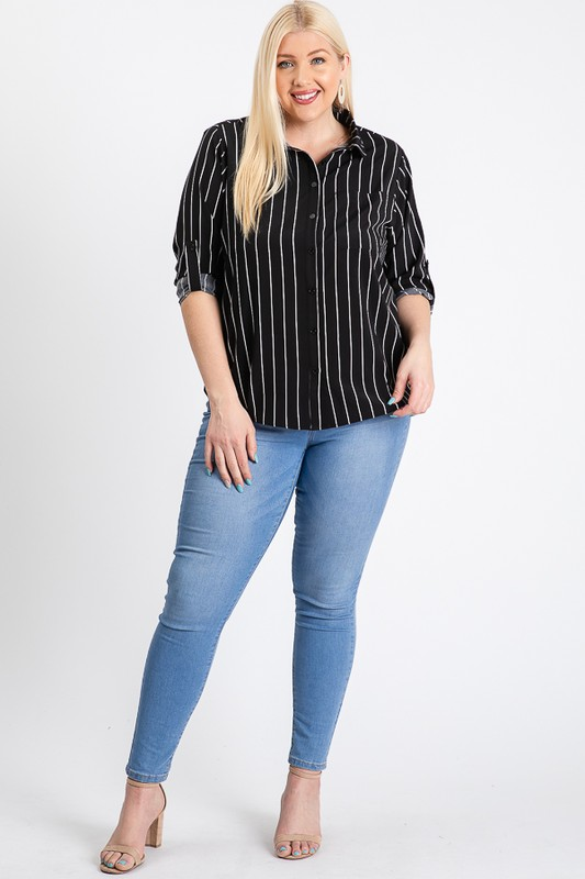 Multi-Use Stripped Top -Black - Front