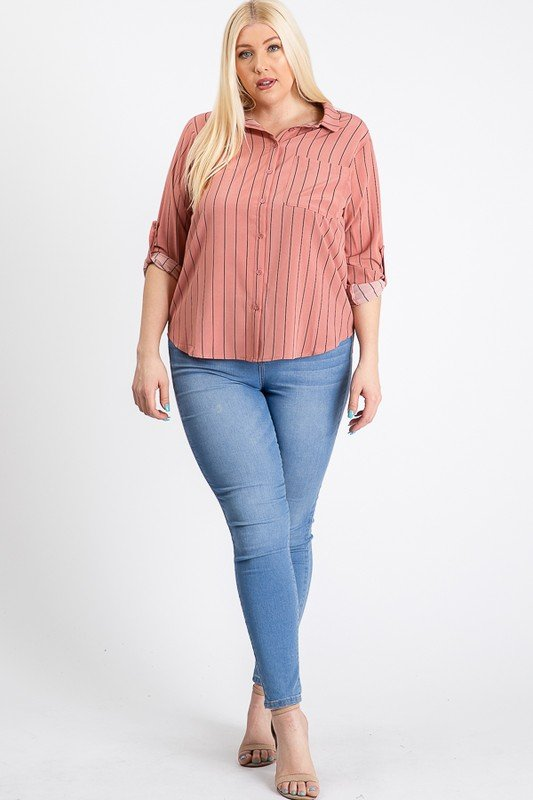 Multi-Use Stripped Top -Mauve - Front