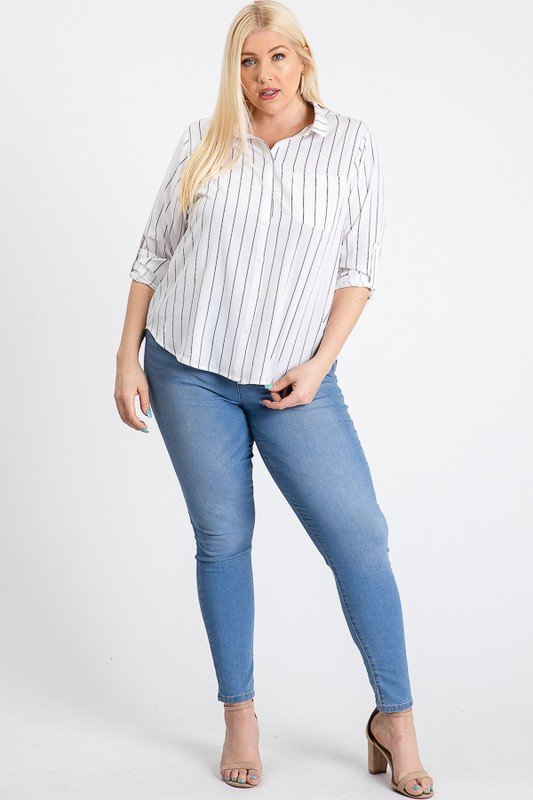 Multi-Use Stripped Top -White - Front