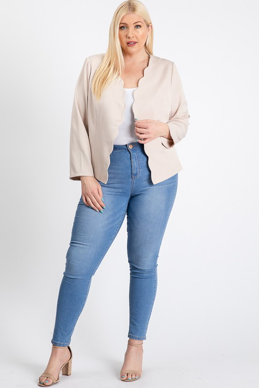 Mind My Business Scallop Jacket -Ivory - Front