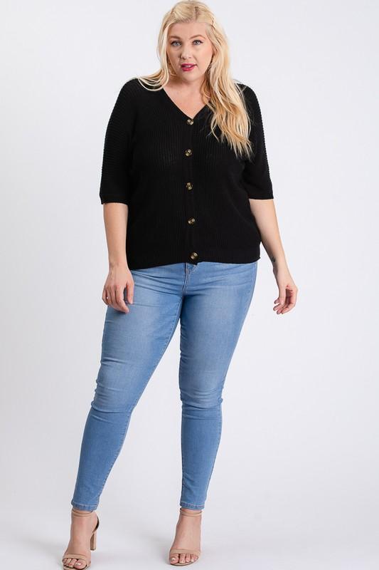 V-Neck Sweater -Black - Front