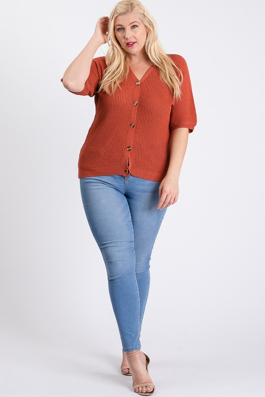 V-Neck Sweater -Rust - Front