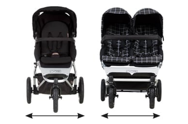 the same wheelbase width as a single buggy at just 63cm