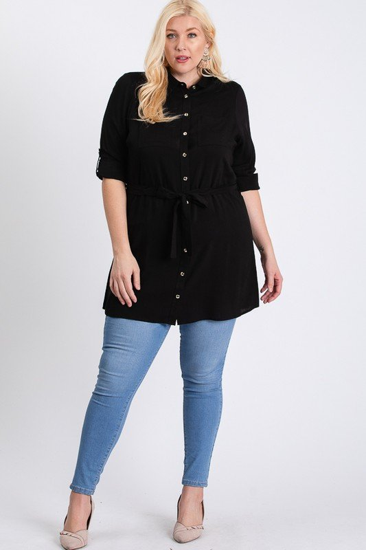 Buttoned Shirt Dress -Black - Front
