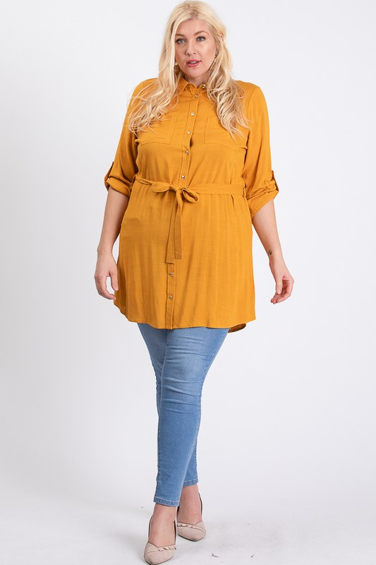 Buttoned Shirt Dress -Mustard - Front