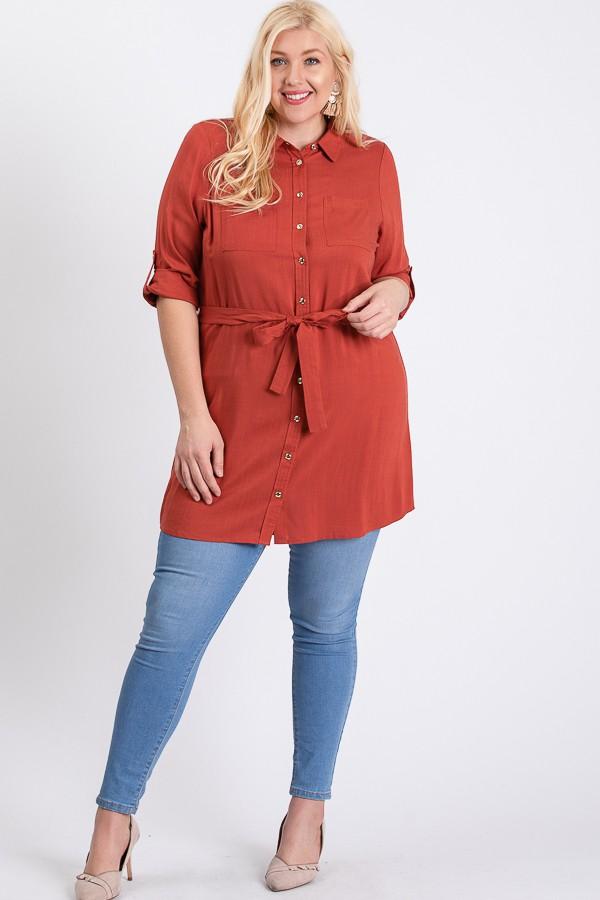 Buttoned Shirt Dress -Rust - Front