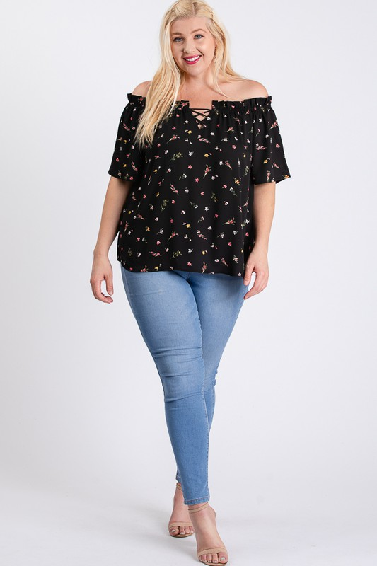 Small Flowers Off-Shoulder Top -Black - Front