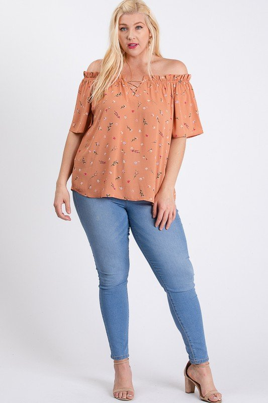 Small Flowers Off-Shoulder Top -Peach - Front