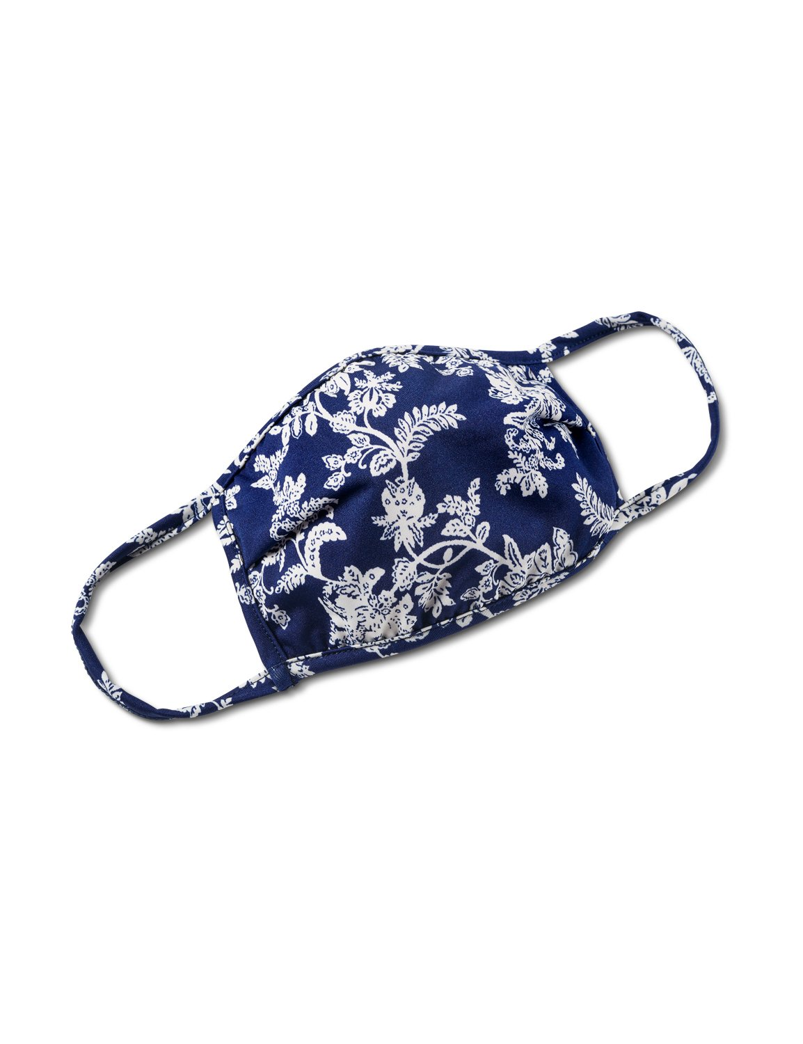 Floral Scroll Fashion Mask -Navy/White - Front