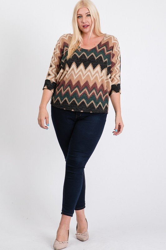 Multi-Colored Basic Shirt -Teal - Front