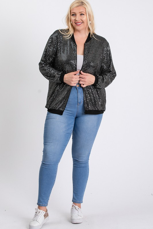 Bling Bling Sequin Jacket -Silver - Front