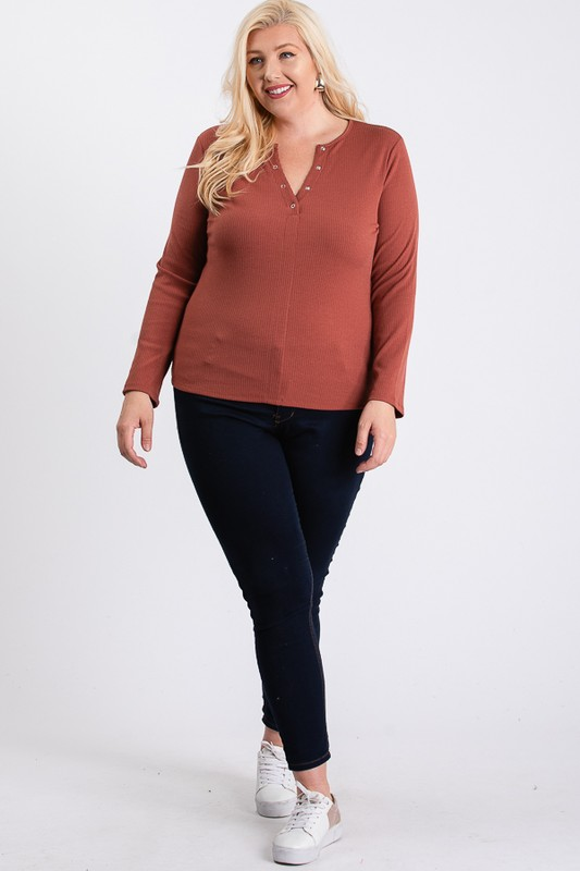 V-Neck Plain Sweater -Rust - Front