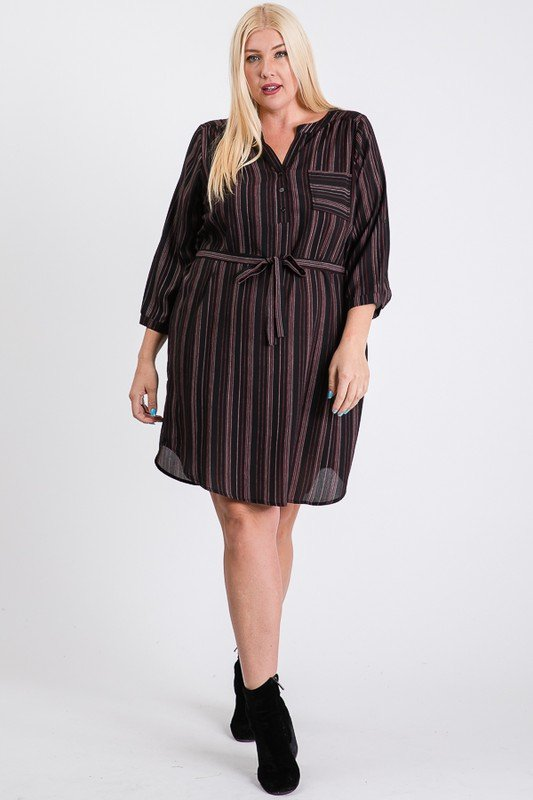 Casually Chic Shirt Dress -Black - Front