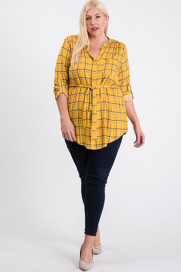 Playful Plaid Tunic Shirt -Mustard - Front