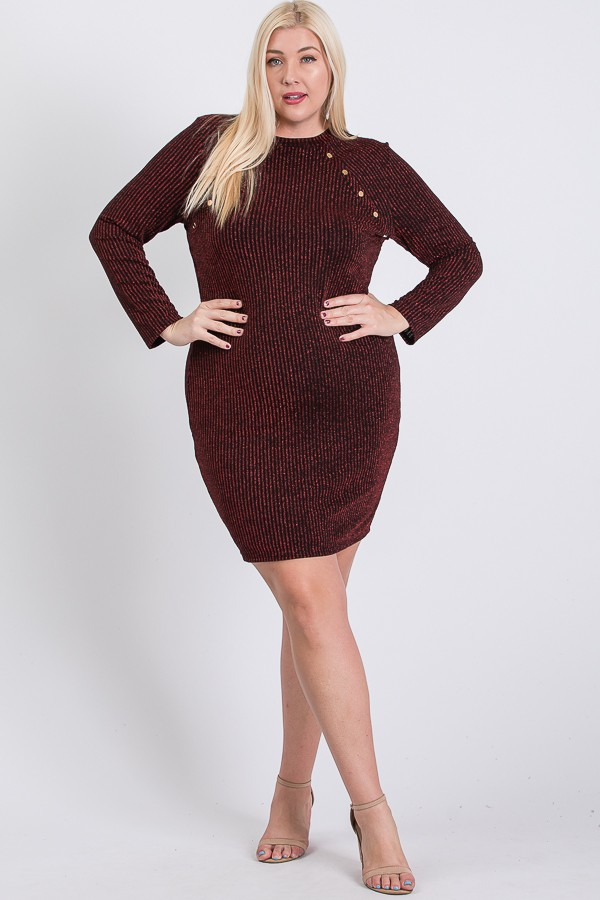 Semi-Formal Striped Metallic Dress -Burgundy - Front
