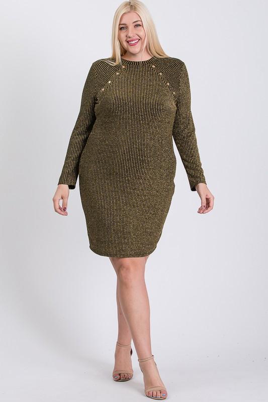 Semi-Formal Striped Metallic Dress -Olive - Front