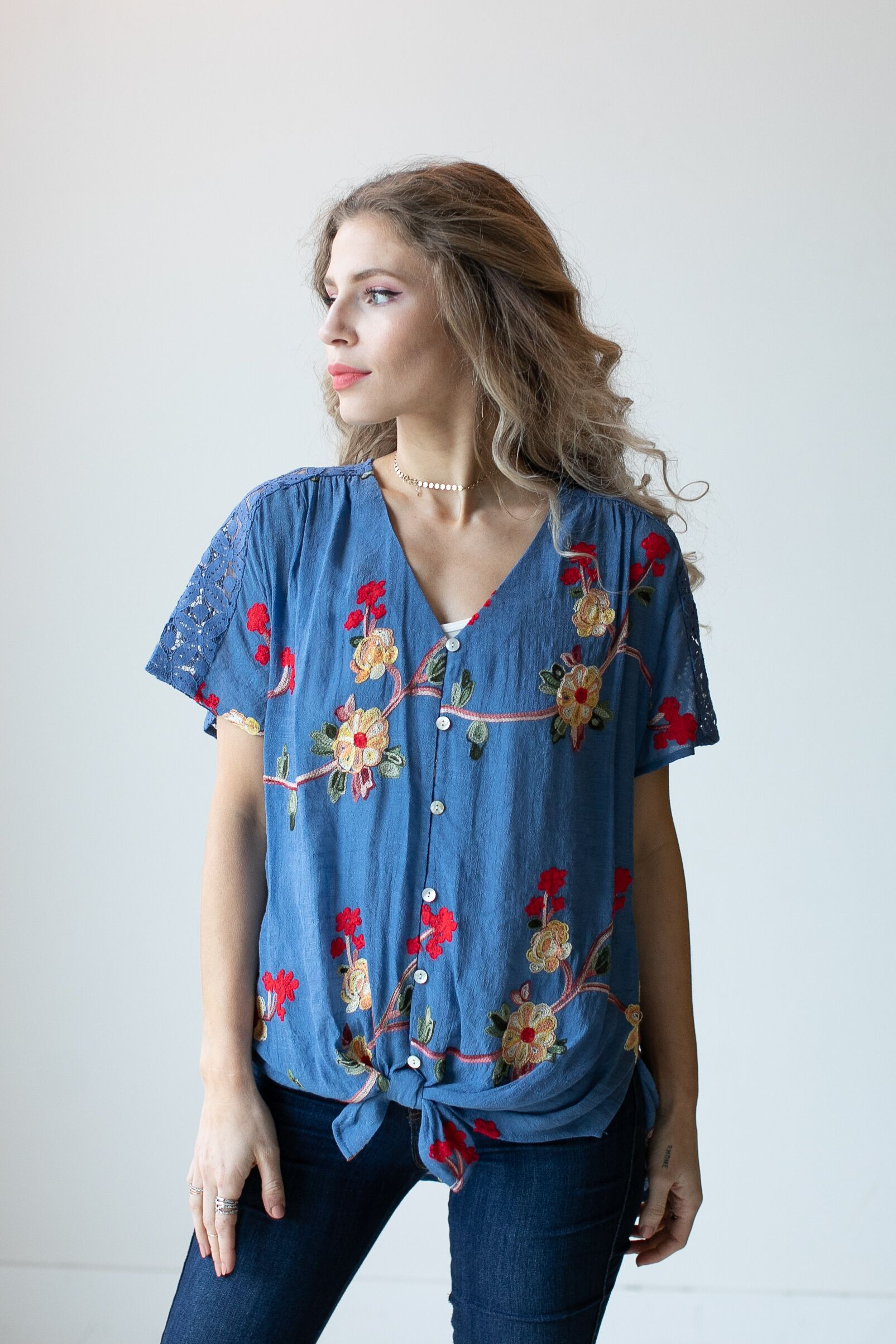 Embroidered Tie Front Blouse With Crochet - Misses -Chambray - Front