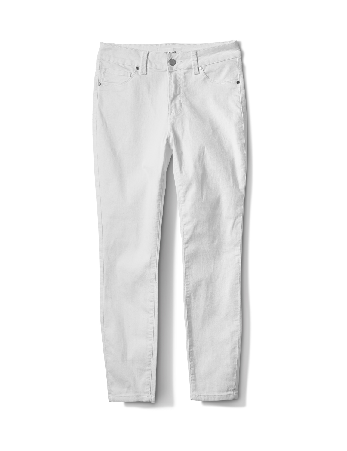 5 Pocket Skinny Ankle Jean -White - Front
