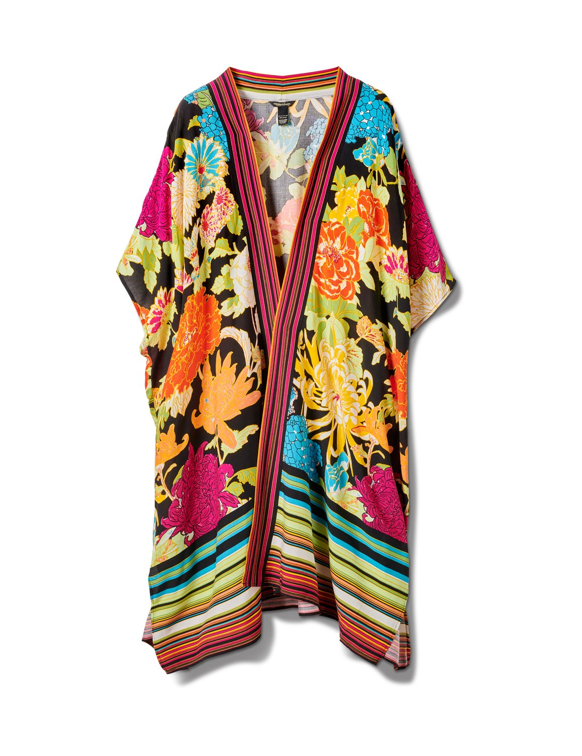 Floral Border Print Duster Kimono -Red - Front