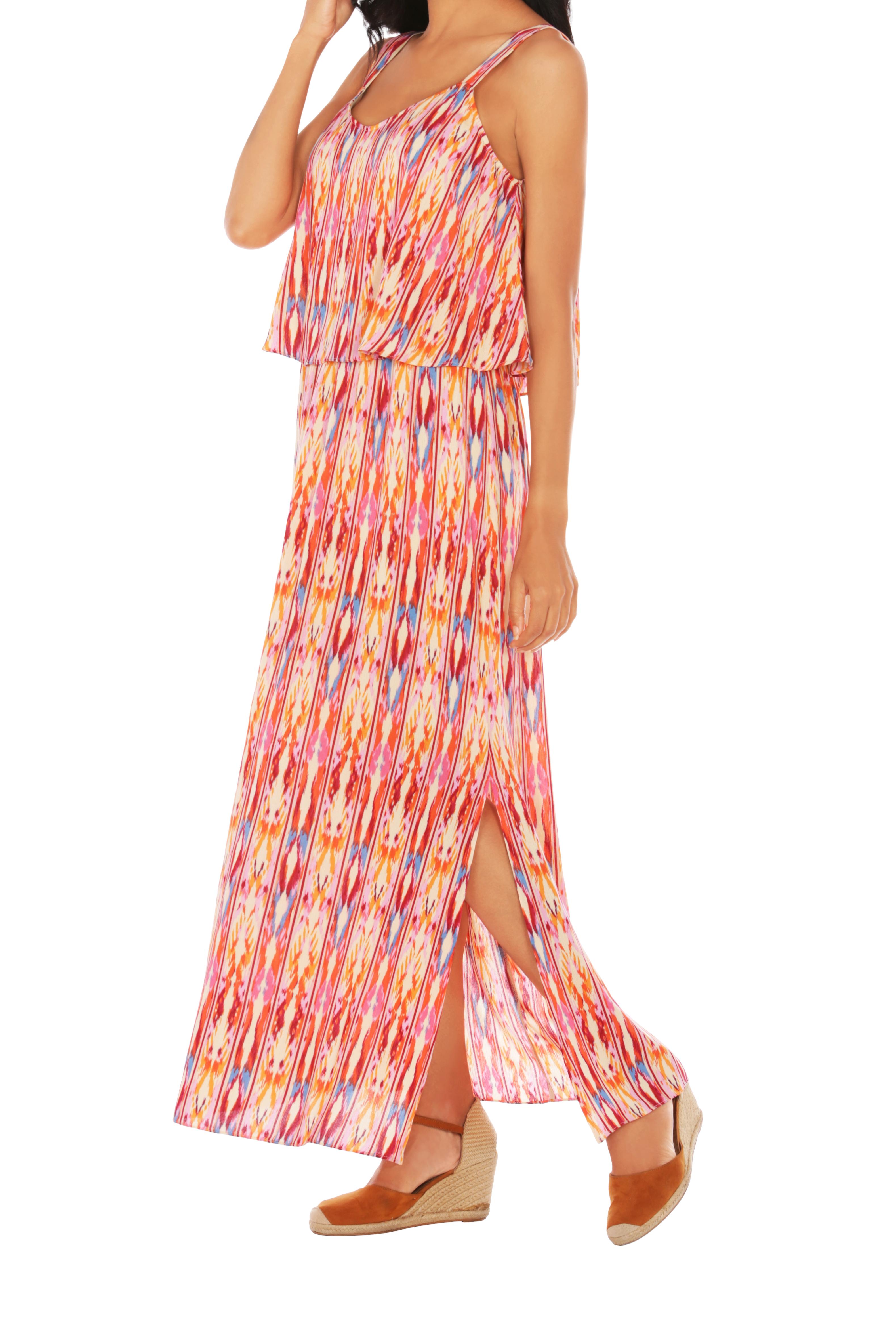 Caribbean Joe® Double Layer Maxi Dress -Bittersweet - Front