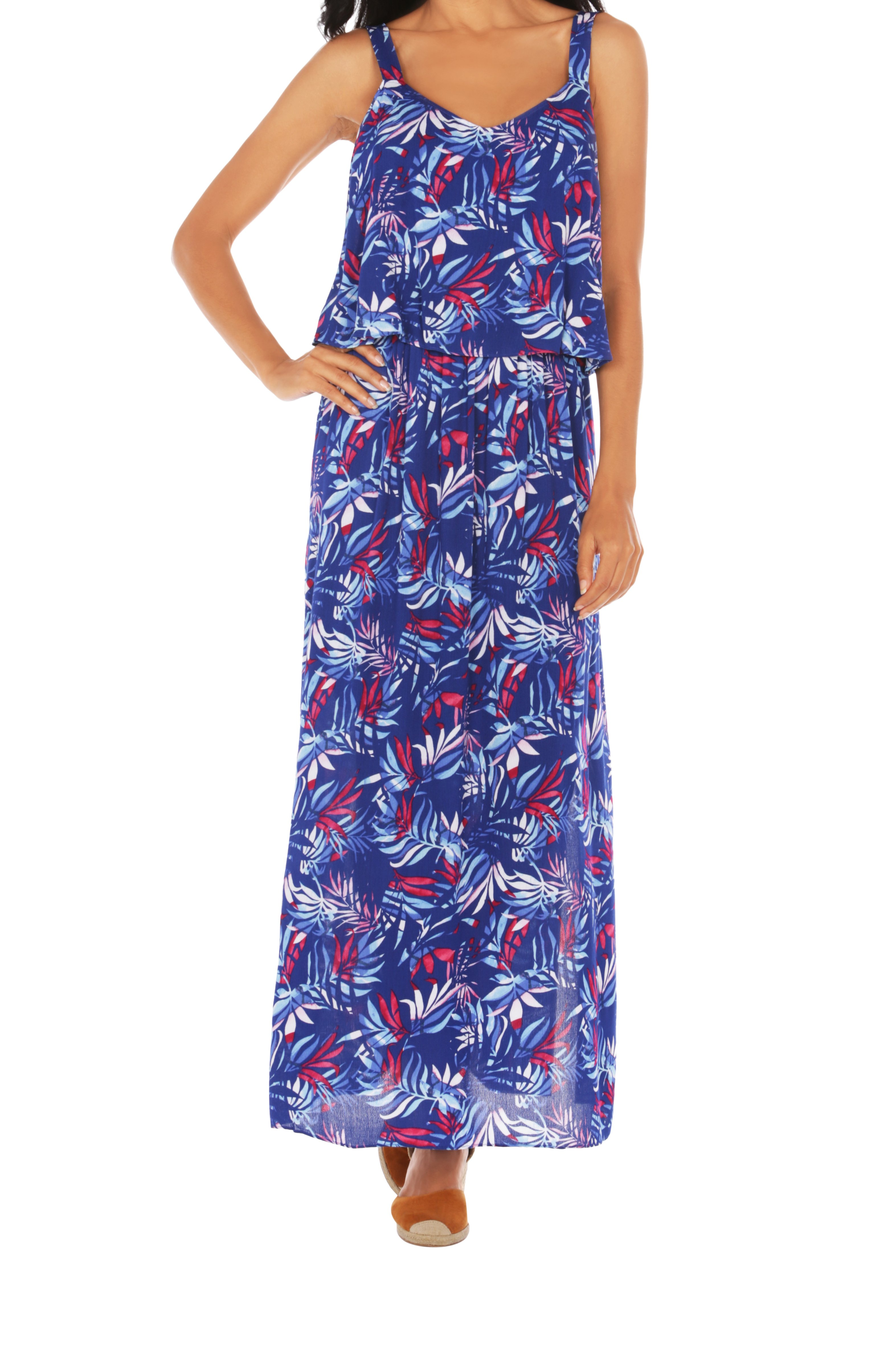 Caribbean Joe® Double Layer Maxi Dress -Blue - Front